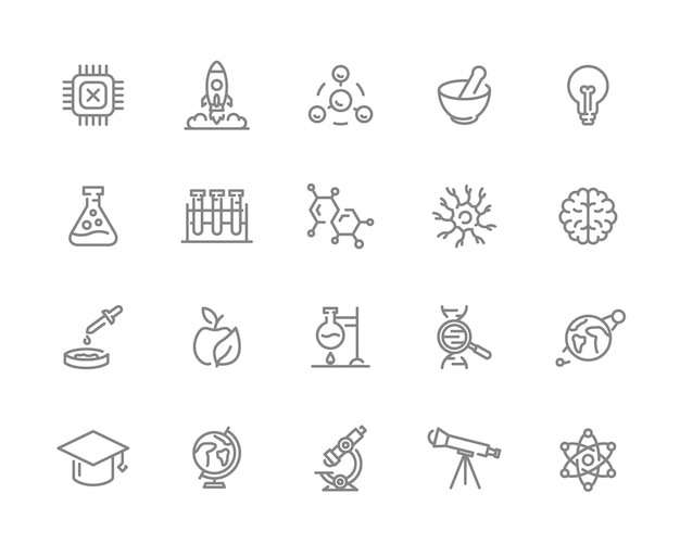 Set of science line icons. chip, rocket, atom, neuron, brain and more. Premium Vector