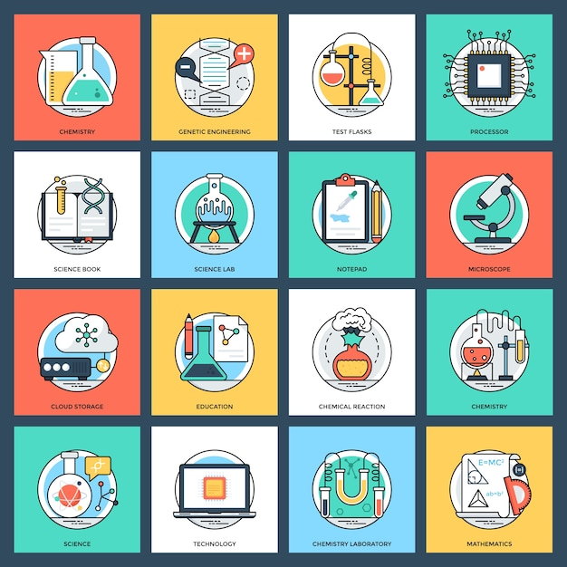 Set of science and technology flat vector icons Premium Vector