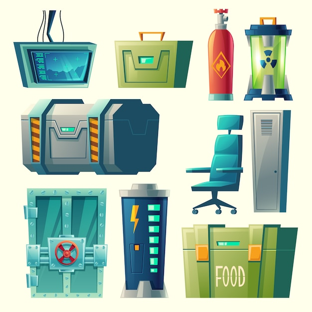 Set for scientific laboratory, interior of secret bunker with lab devices, equipment. Free Vector