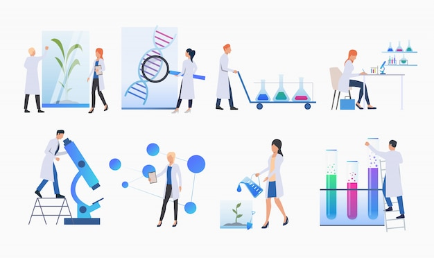 Set of scientists doing research banner Free Vector