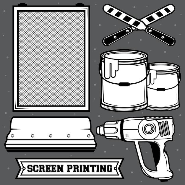 Set screen printing Premium Vector