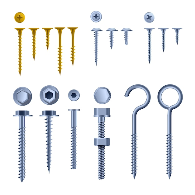 Set of screws and fasteners, gold and silver color wall hooks and bolts, nuts and wall plugs collection Premium Vector