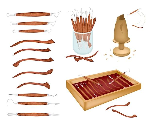 Set of sculpting tools on white background Premium Vector