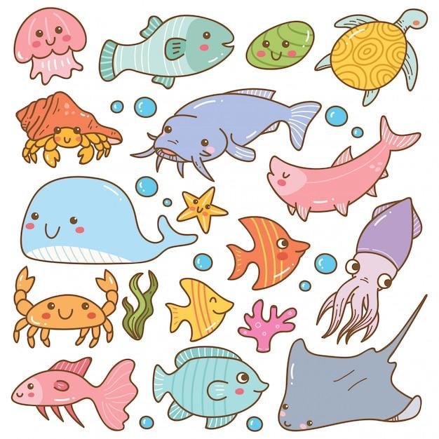Set of sea animal kawaii doodles Premium Vector