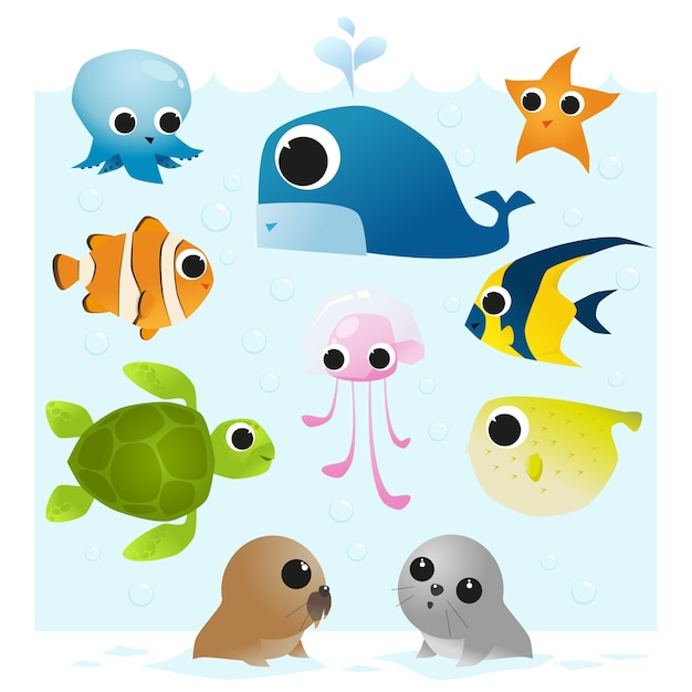 Set of sea animals Premium Vector