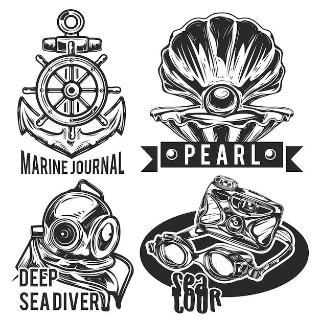 Set of sea emblems, labels, badges, logos. Free Vector