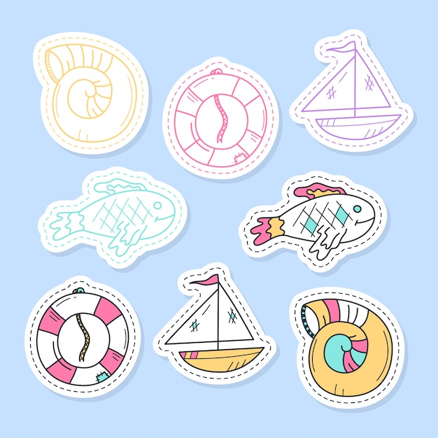 Set of sea stickers, pins, patches and handwritten collection in cartoon style. Premium Vector