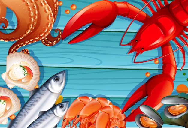 Set of seafood on wooden background Free Vector