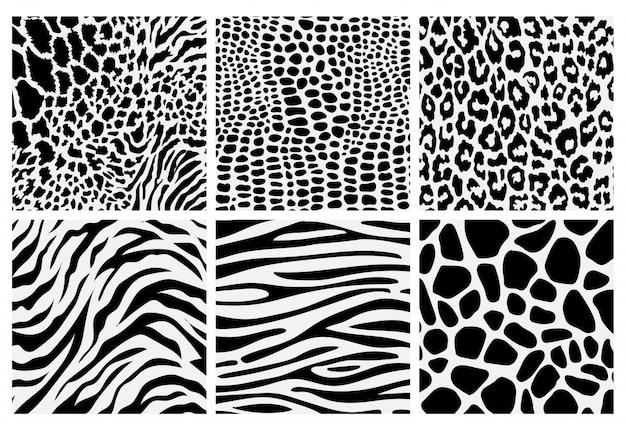 Set of seamless animal print pattern black and white Premium Vector
