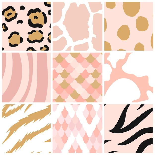 Set of seamless animal print pattern vectors Free Vector