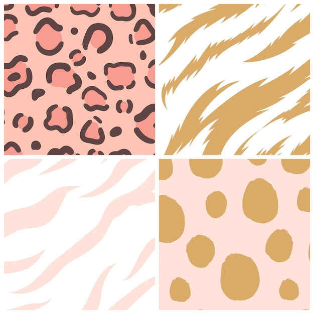 Set of seamless animal print pattern vectors Free Vector
