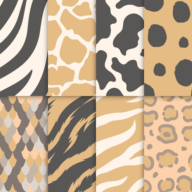 Set of seamless animal print pattern Free Vector