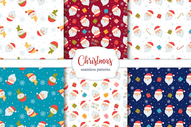 Set of seamless christmas patterns with santa, candy cane, gifts and snowmen. Premium Vector