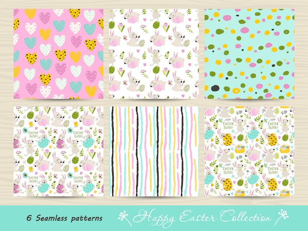 Set of seamless easter patterns Premium Vector