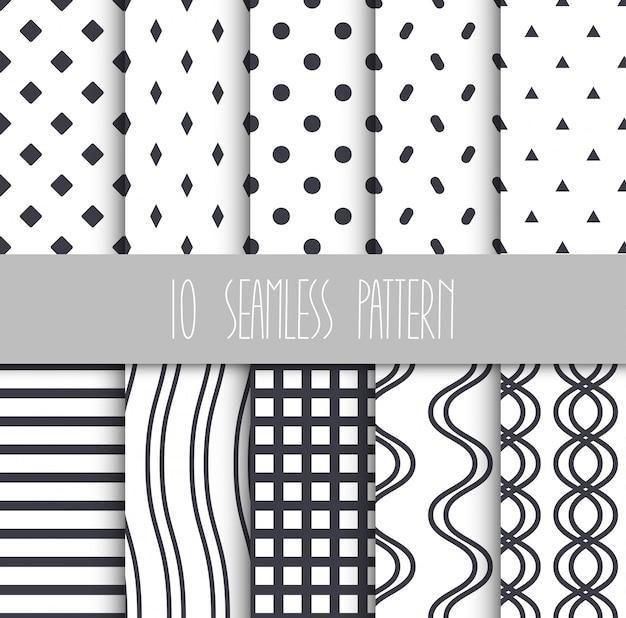 Set of seamless geometric patterns Premium Vector