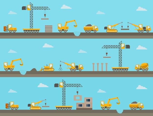 Set di sfondo costruzione orizzontale senza soluzione di continuità con le icone di attrezzature da costruzione. illustrazione vettoriale Vettore gratuito