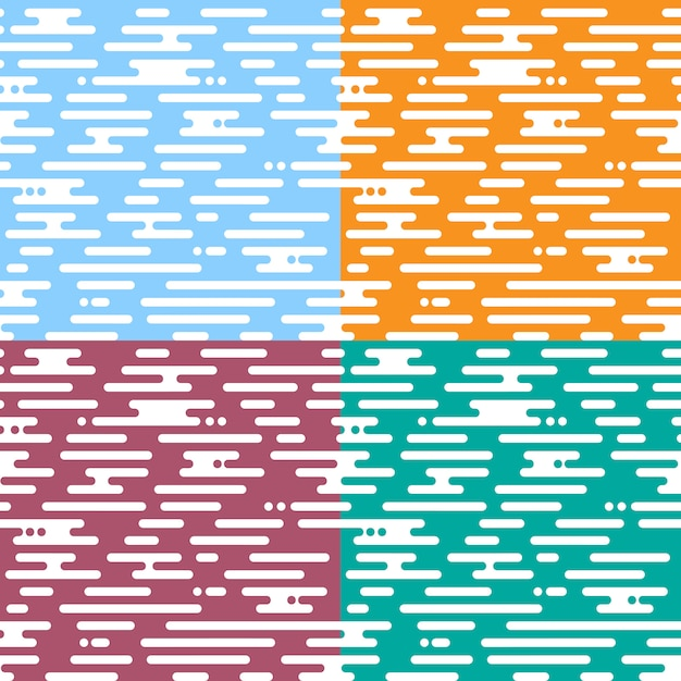 Set of seamless pattern motion irregular rounded lines Premium Vector