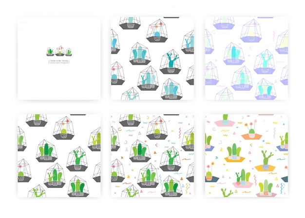 Set of seamless pattern with cactuses in glass terrariums. illustrations for gift wrap design. Premium Vector
