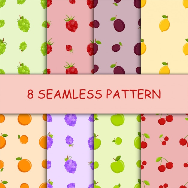 Set of seamless pattern with fruit Premium Vector