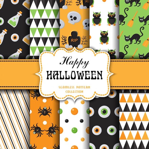 Set of seamless pattern with halloween theme Premium Vector