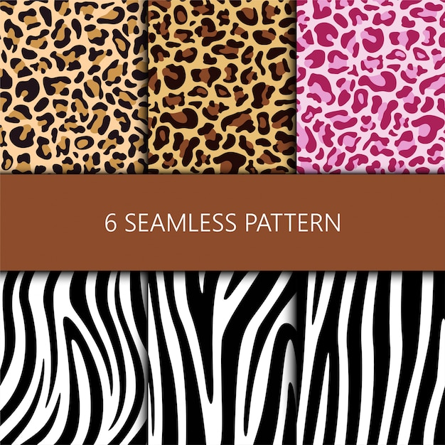Set of seamless pattern with leopard and zebra skin Premium Vector