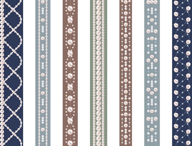 Set of seamless pattern with pearls Premium Vector