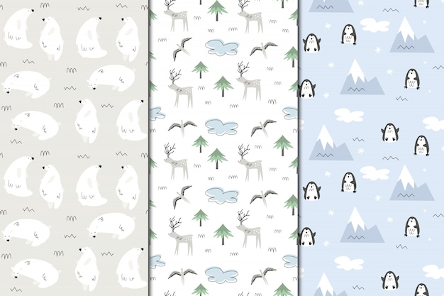 Set of  seamless patterns of alaska. nature and animals, eskimos. scandi style Premium Vector