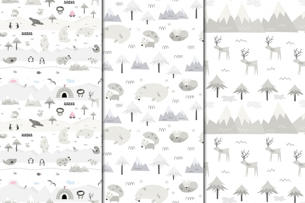 Set of  seamless patterns of alaska. nature and animals, eskimos. scandi style Premium Vector