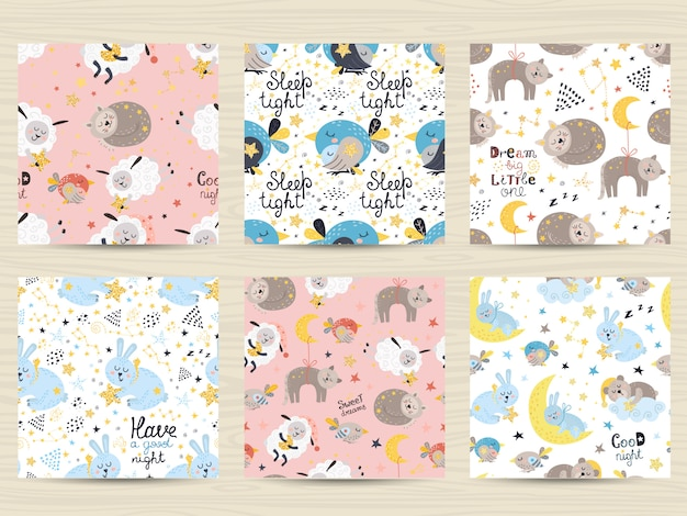 Set of seamless patterns for babies Premium Vector