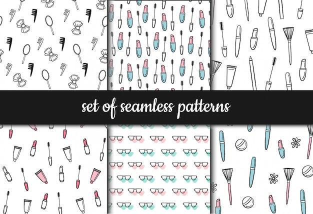 Set of seamless patterns. cosmetics and makeup Premium Vector