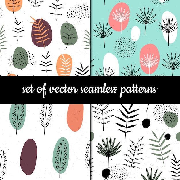 Set of seamless patterns. herbs and plants Premium Vector