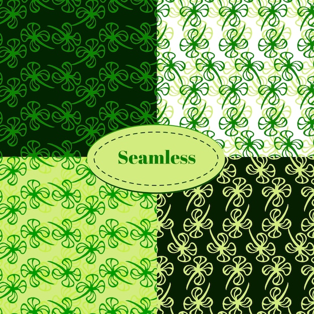 Set of seamless patterns for st. patrick's day. clover hand drawn seamless pattern vector set Premium Vector