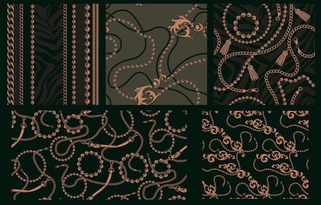 Set of seamless patterns with chains. each pattern is in a separate group. ideal for textile factory printing. Premium Vector