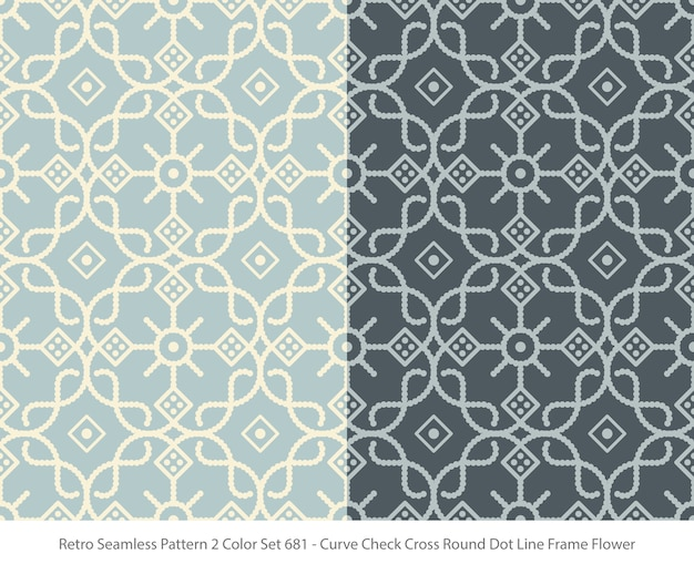 Set of seamless patterns with curve round dot frame flower Premium Vector