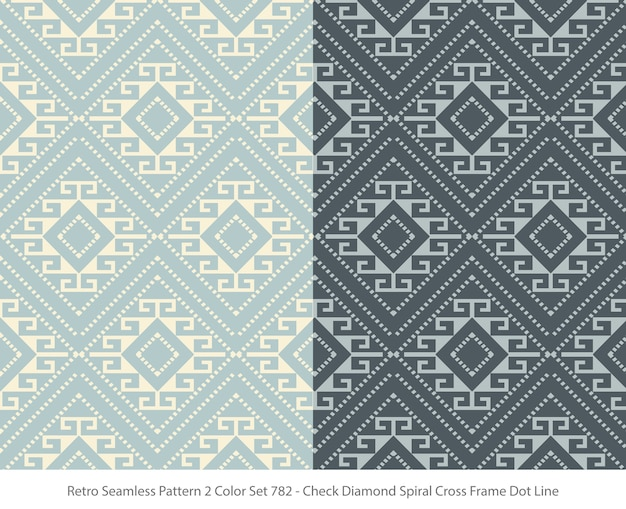 Set of seamless patterns with diamond frame dot Premium Vector