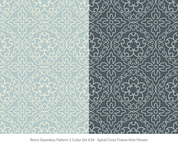 Set of seamless patterns with frame vine flower Premium Vector