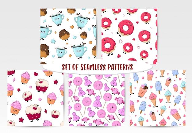 Set of seamless patterns with kawaii sweet food Premium Vector