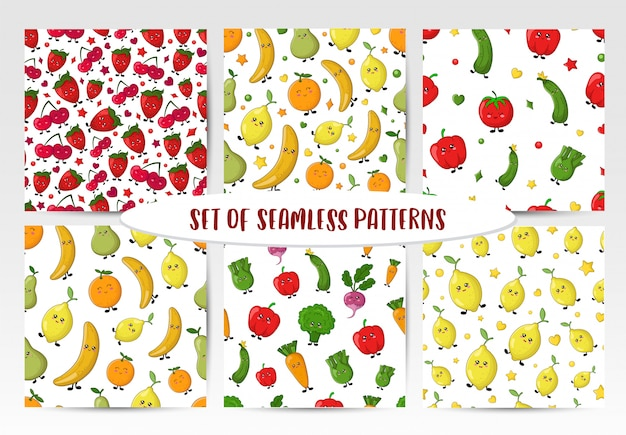 Set of seamless patterns with kawaii vegetables, fruit and berries Premium Vector