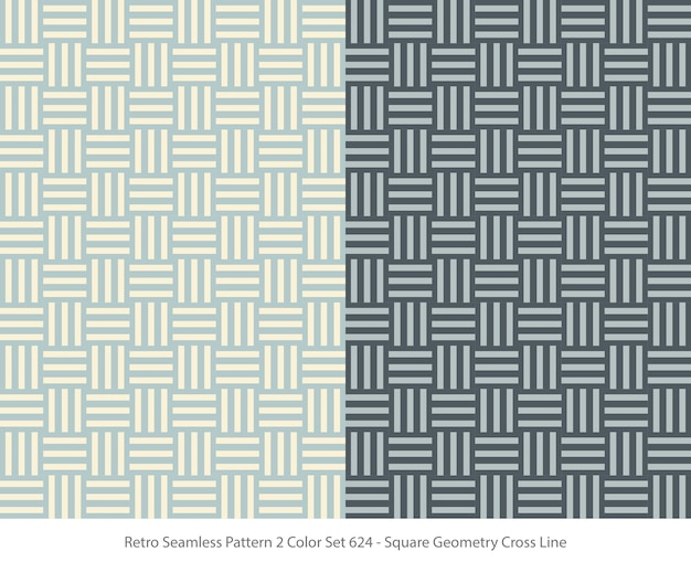 Set of seamless patterns with square geometry Premium Vector