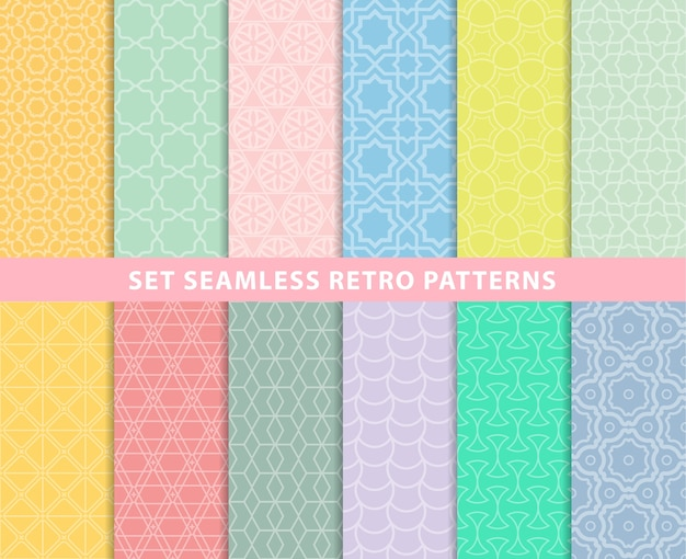 Set seamless retro patterns Premium Vector