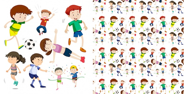 Set of seamless sportive children isolated objects theme Free Vector