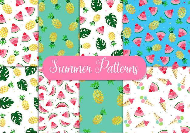 Set of seamless summer patterns Premium Vector