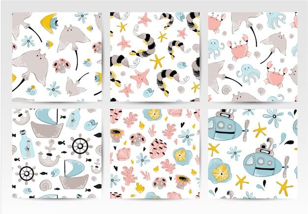 Set of seamless vector patterns - cartoon sea animals Premium Vector