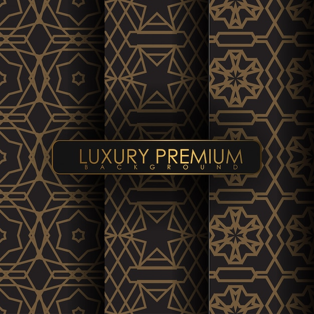 Set of seamless vintage pattern Premium Vector