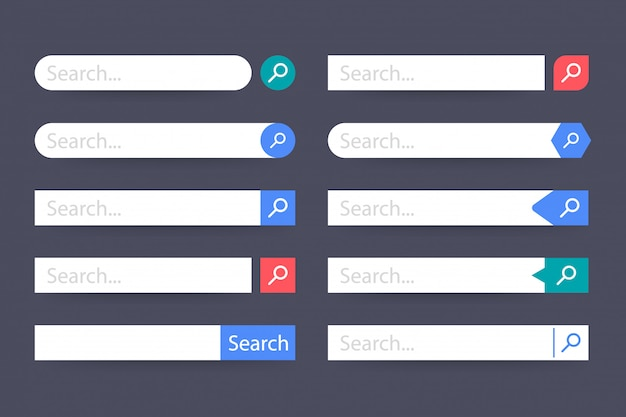 Set search bar element, set of search boxes ui template Premium Vector