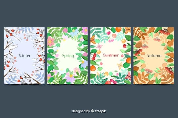 Set of seasonal flyer collection Free Vector