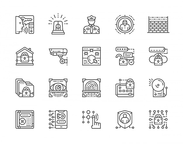 Set of security services icons Premium Vector