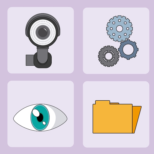 Set of security system square icons vector illustration graphic design Premium Vector