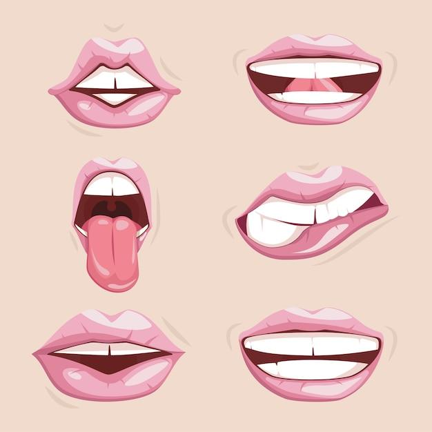 Set of seductive female lips isolated Premium Vector