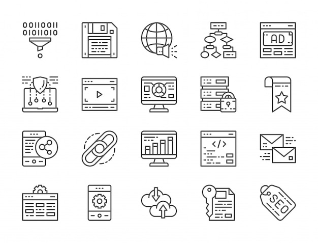 Set of seo and marketing line icons. hosting, bookmark, hyperlink and more. Premium Vector